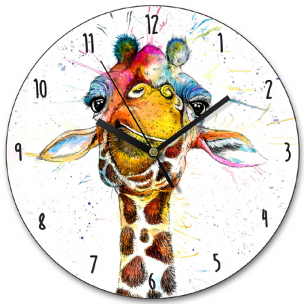 Splatter Rainbow Giraffe Wooden Clock